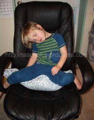 Daniel asleep in chair